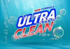 Produit ultra propre Calibre pour le détergent de blanchisserie avec des bulles sur le bleu illustration de vecteur