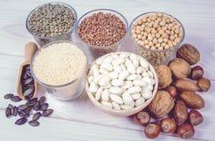Produits alimentaires contenant la protéine d'origine végétale photos libres de droits