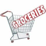 Produits alimentaires de magasin de Word de caddie d'épiceries Images libres de droits