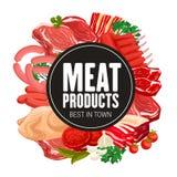 Produits carnés de boucherie, nourriture de boucherie illustration libre de droits