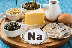 Produits contenant le sodium (Na) photo stock