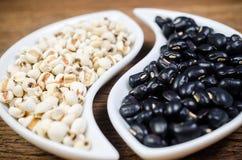 produits d'agriculture, job& x27 ; larmes et haricots noirs de s Photo libre de droits