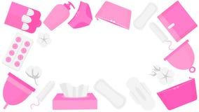 Produits d'hygiène de femme - tampon, tasse menstruelle, sanitaire Cadre rond de temps de règles illustration libre de droits