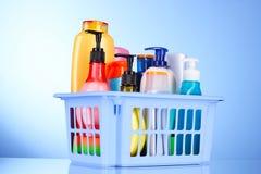 produits de bain dans le cadre bleu Photos stock