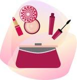 Produits de beauté de vecteur avec le sac à main de femmes Photographie stock libre de droits