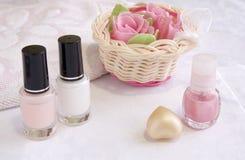 Produits de beauté pour la demande de règlement de soin de clou et de mains Photographie stock libre de droits