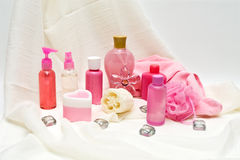 Produits de beauté roses Images libres de droits