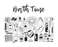 Produits de beauté tirés par la main d'illustration Oeuvre d'art créative d'encre Dessin réel de bain de vecteur Photo stock