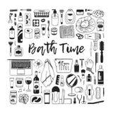 Produits de beauté tirés par la main d'illustration Oeuvre d'art créative d'encre Dessin réel de bain de vecteur Photos stock