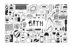 Produits de beauté tirés par la main d'illustration Oeuvre d'art créative d'encre Dessin réel de bain de vecteur Photographie stock