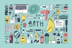 Produits de beauté tirés par la main d'illustration Oeuvre d'art créative d'encre Dessin réel de bain de vecteur Images libres de droits