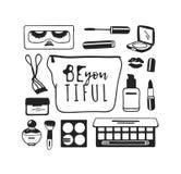 Produits de beauté tirés par la main d'illustration Oeuvre d'art créative d'encre Dessin réel de maquillage de vecteur Images stock