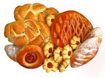 Produits de boulangerie sur le blanc. Photo libre de droits