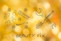Produits de cosmétiques à côté de clé, difficulté de beauté photos libres de droits