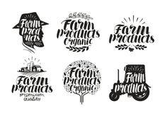 Produits de la ferme, marquant avec des lettres Agriculture, cultivant le label ou le logo Illustration de vecteur de calligraphi Image libre de droits