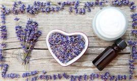 Produits de lavande, cosmétiques naturels Photographie stock