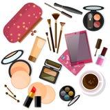 Produits de maquillage d'isolement sur le blanc Images libres de droits