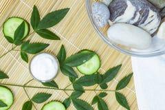 Produits de soin pour la peau naturels Ingrédients de vue supérieure sur le concept de table du meilleur toute la crème hydratant images stock