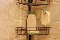 Produits de soin pour la peau, y compris la bouteille de lavage de corps, de savon fait main, et d'un luffa naturel d'éponge image libre de droits