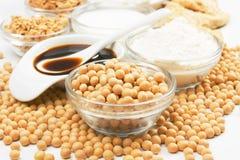 Produits de soja et de soja photos libres de droits