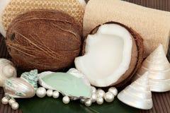 Produits de station thermale de noix de coco Photographie stock libre de droits