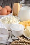Produits laitiers frais Lait, fromage, brie, camembert, beurre, fromage de yaourt et blanc et oeufs sur la table en bois Photo libre de droits