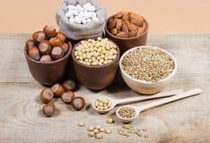 Produits naturels contenant les protéines végétales Photo stock