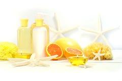 Produits oranges de station thermale Photo stock