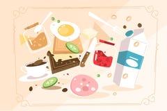 Produits pour faire cuire le petit déjeuner illustration stock