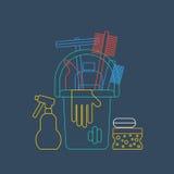 Produits pour la maison, les corvées de maison, le seau et le gant de nettoyage, icône linéaire illustration stock