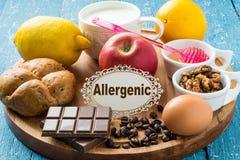 Produits qui causent l'allergie Images stock