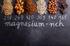 Produits riches en magnésium Photos libres de droits