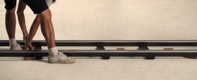 Produkci załoga położenia dolly ślad w studiu Fotografia Stock