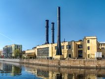 Produkcja budynek na bulwarze Moika rzeka w St Obrazy Royalty Free
