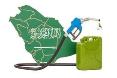 Produkcja i handel benzyna w Arabia Saudyjska, pojęcie - ludzki charakter - 3d rend Obraz Royalty Free