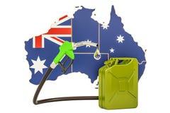 Produkcja i handel benzyna w Australia, pojęcie 3D renderi Ilustracji