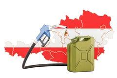 Produkcja i handel benzyna w Austria, pojęcie świadczenia 3 d Fotografia Royalty Free