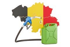 Produkcja i handel benzyna w Belgia, pojęcie świadczenia 3 d Obraz Royalty Free