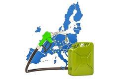 Produkcja i handel benzyna w Europejskim zjednoczeniu, pojęcie 3d ponowny Ilustracja Wektor