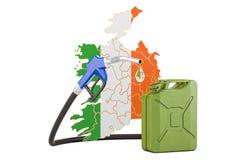 Produkcja i handel benzyna w Irlandia, pojęcie świadczenia 3 d Zdjęcie Royalty Free