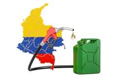 Produkcja i handel benzyna w Kolumbia, pojęcie 3D renderin Ilustracji