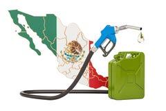 Produkcja i handel benzyna w Meksyk, pojęcie świadczenia 3 d Zdjęcia Stock
