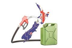 Produkcja i handel benzyna w Nowa Zelandia, pojęcie 3D rende Royalty Ilustracja