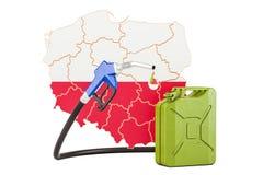 Produkcja i handel benzyna w Polska, pojęcie świadczenia 3 d Obraz Royalty Free