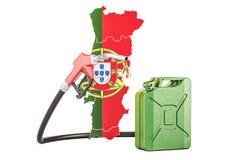 Produkcja i handel benzyna w Portugalia, pojęcie 3D renderin Royalty Ilustracja