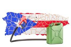Produkcja i handel benzyna w Puerto Rico, pojęcie 3D rende Ilustracja Wektor