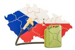 Produkcja i handel benzyna w republika czech, pojęcie 3d Ilustracja Wektor