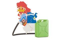 Produkcja i handel benzyna w Serbia, pojęcie świadczenia 3 d Zdjęcia Stock