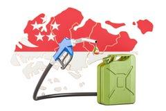 Produkcja i handel benzyna w Singapur, pojęcie 3D renderi Ilustracji