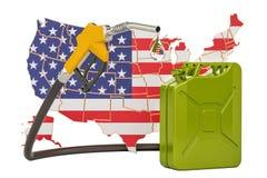 Produkcja i handel benzyna w Stany Zjednoczone, pojęcie 3d ren Ilustracja Wektor